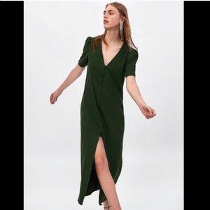 Zara Woman green cotton linen button midi dress